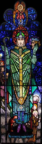 St Cuthbert, as depicted in the church by glazier Harry Clarke
